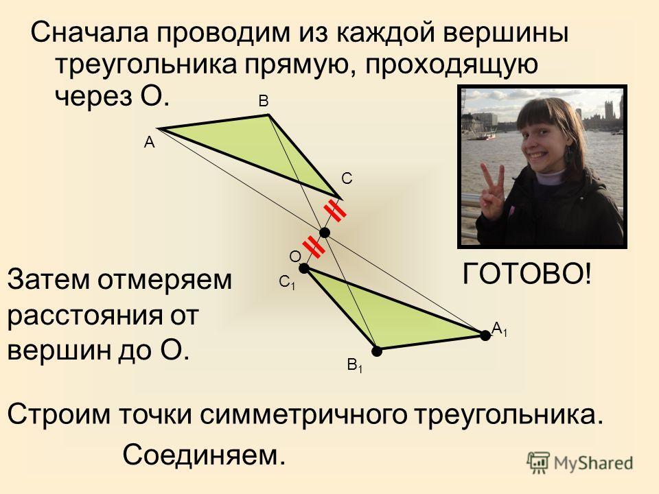 Сначала проводим из каждой вершины треугольника прямую, проходящую через О. А В С О Затем отмеряем расстояния от вершин до О. Строим точки симметричного треугольника. С1С1 В1В1 А1А1 ГОТОВО! Соединяем.