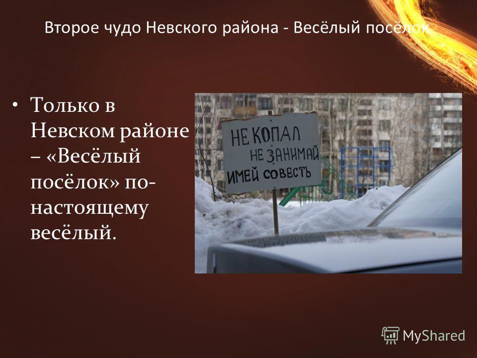 Второе чудо Невского района - Весёлый посёлок Только в Невском районе – «Весёлый посёлок» по- настоящему весёлый.