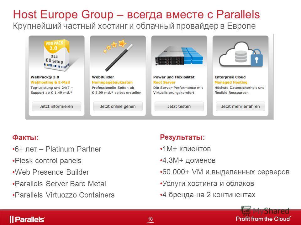 18 Profit from the Cloud TM Результаты: 1M+ клиентов 4.3M+ доменов 60.000+ VM и выделенных серверов Услуги хостинга и облаков 4 бренда на 2 континентах Host Europe Group – всегда вместе с Parallels Крупнейший частный хостинг и облачный провайдер в Ев