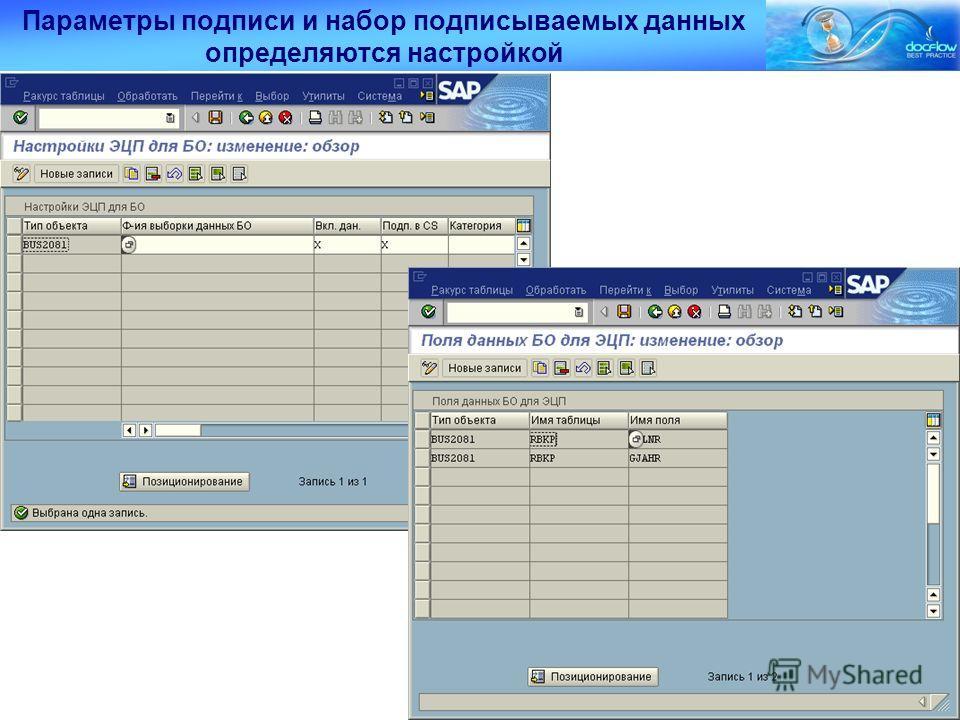 Параметры подписи и набор подписываемых данных определяются настройкой