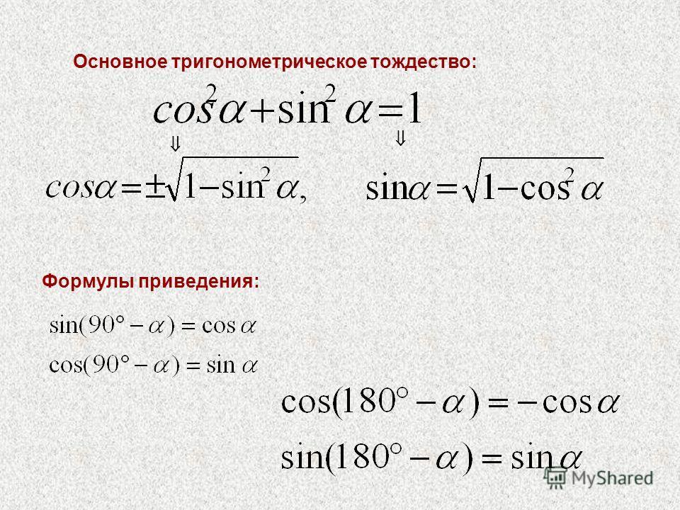 Основное тригонометрическое тождество: Формулы приведения: