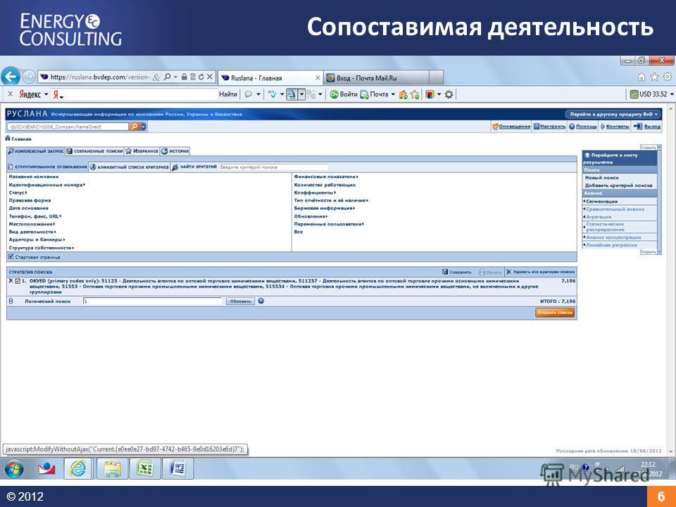 © 2012 6 Сопоставимая деятельность