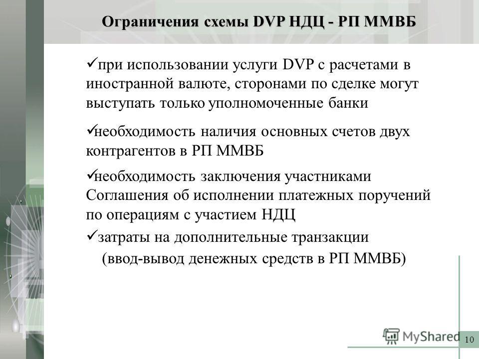 10 Ограничения схемы DVP НДЦ - РП ММВБ при использовании услуги DVP с расчетами в иностранной валюте, сторонами по сделке могут выступать только уполномоченные банки необходимость наличия основных счетов двух контрагентов в РП ММВБ необходимость закл