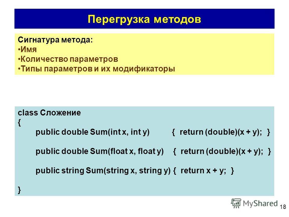 18 Перегрузка методов Сигнатура метода: Имя Количество параметров Типы параметров и их модификаторы class Сложение { public double Sum(int x, int y) { return (double)(x + y); } public double Sum(float x, float y) { return (double)(x + y); } public st
