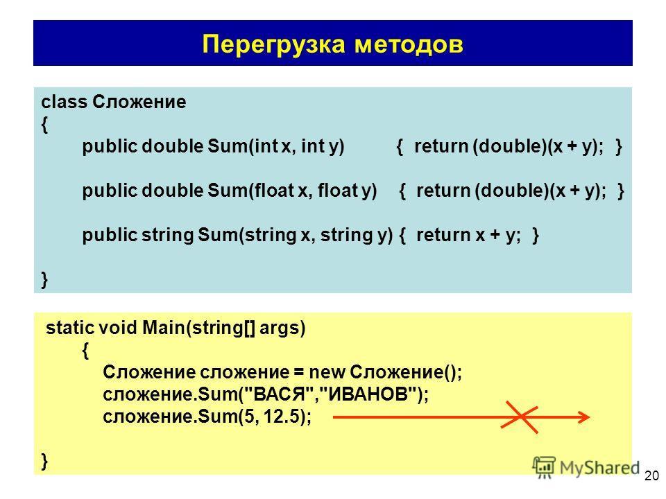 20 Перегрузка методов class Сложение { public double Sum(int x, int y) { return (double)(x + y); } public double Sum(float x, float y) { return (double)(x + y); } public string Sum(string x, string y) { return x + y; } } static void Main(string[] arg