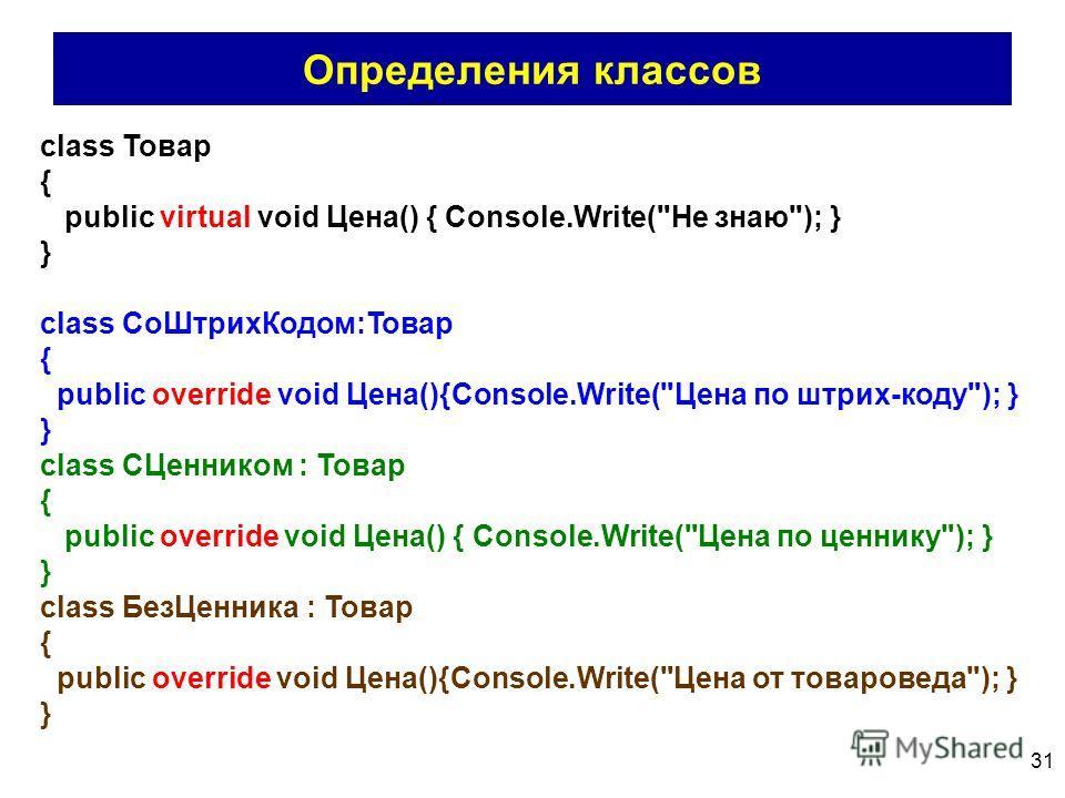 31 Определения классов class Товар { public virtual void Цена() { Console.Write(