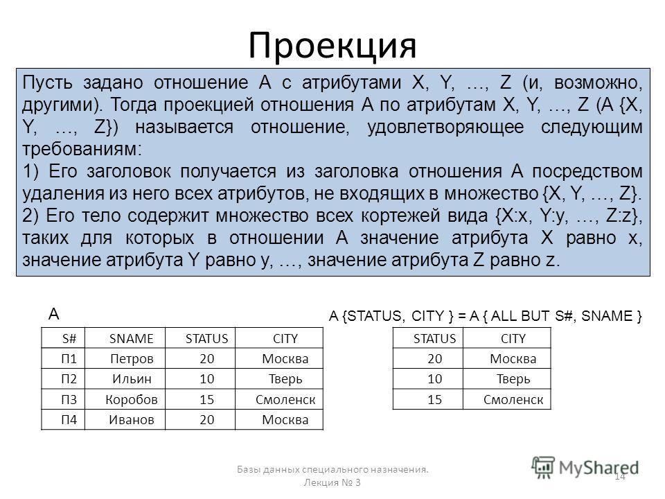 Проекция Базы данных специального назначения. Лекция 3 14 Пусть задано отношение А с атрибутами X, Y, …, Z (и, возможно, другими). Тогда проекцией отношения А по атрибутам X, Y, …, Z (A {X, Y, …, Z}) называется отношение, удовлетворяющее следующим тр