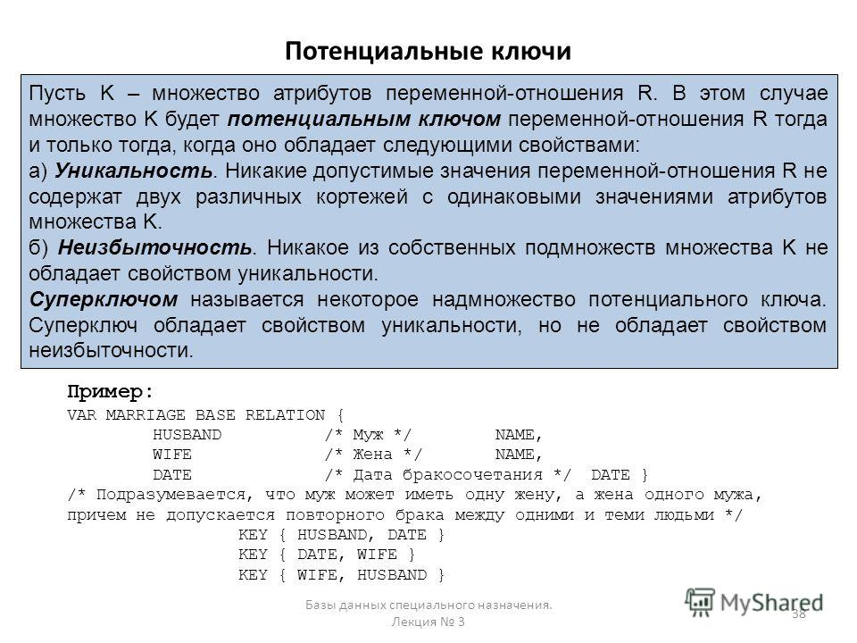 Потенциальные ключи Базы данных специального назначения. Лекция 3 38 Пусть K – множество атрибутов переменной-отношения R. В этом случае множество K будет потенциальным ключом переменной-отношения R тогда и только тогда, когда оно обладает следующими