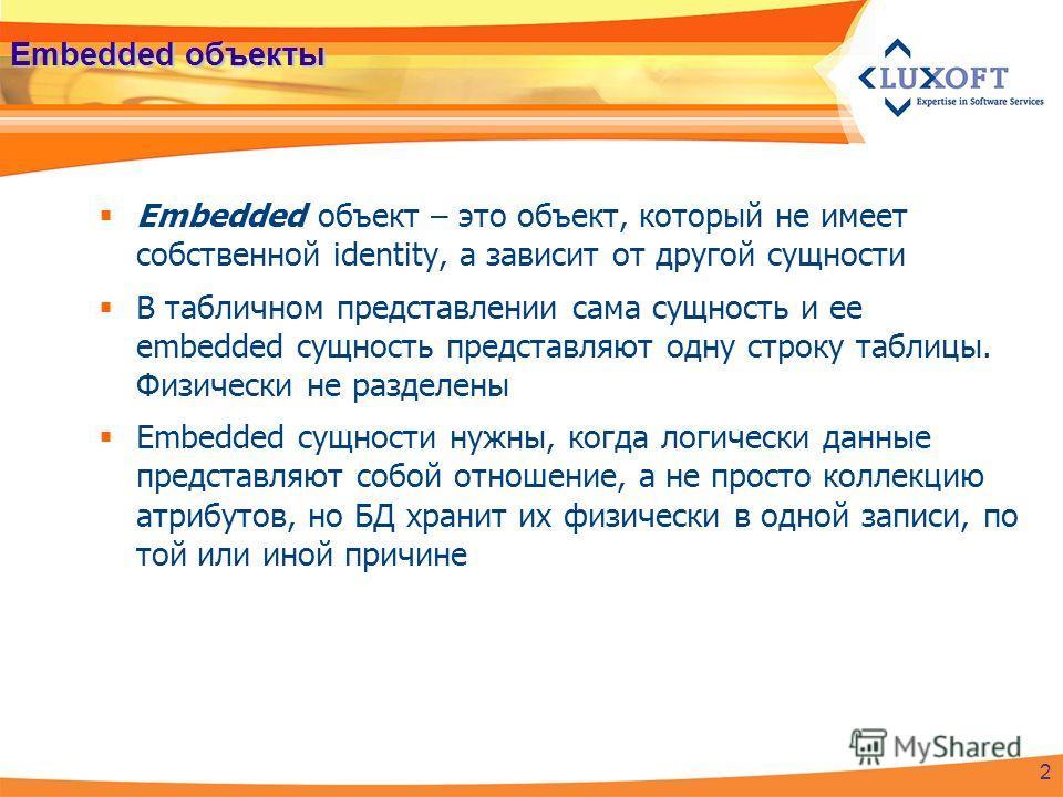 Embedded объекты Embedded объект – это объект, который не имеет собственной identity, а зависит от другой сущности В табличном представлении сама сущность и ее embedded сущность представляют одну строку таблицы. Физически не разделены Embedded сущнос