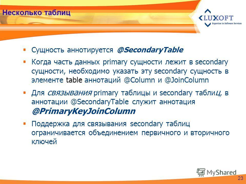 Несколько таблиц Сущность аннотируется @SecondaryTable Когда часть данных primary сущности лежит в secondary сущности, необходимо указать эту secondary сущность в элементе table аннотаций @Column и @JoinColumn Для связывания primary таблицы и seconda