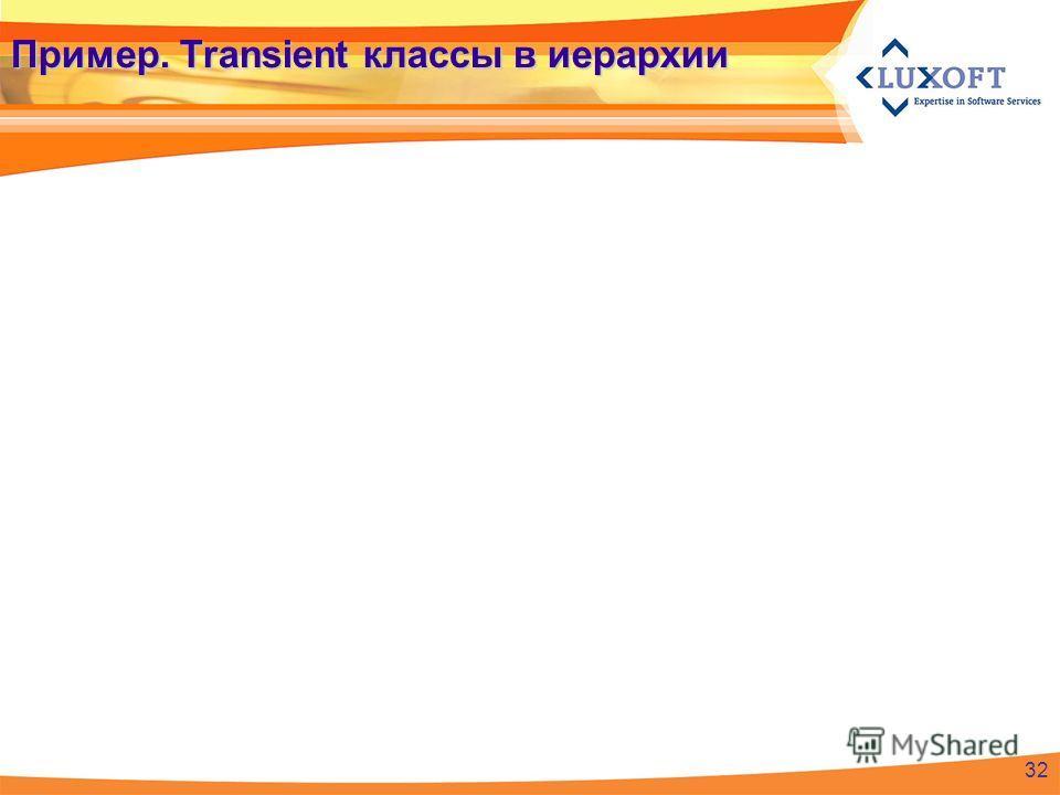 Пример. Transient классы в иерархии 32