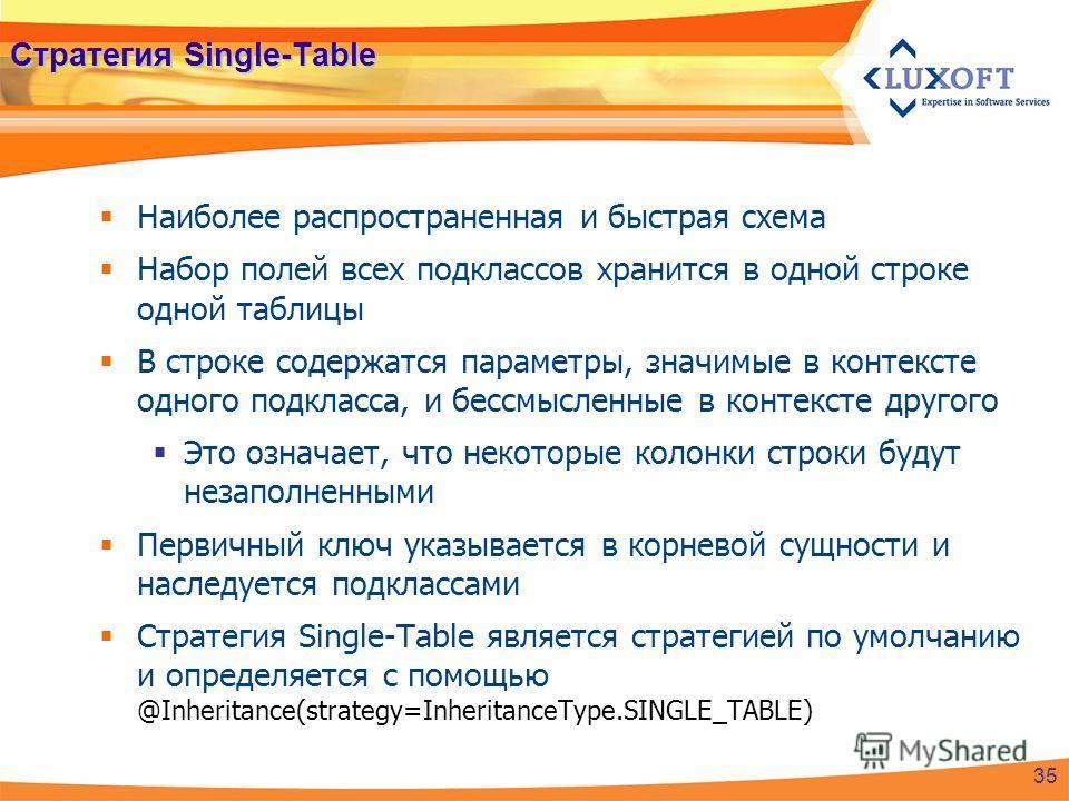Стратегия Single-Table Наиболее распространенная и быстрая схема Набор полей всех подклассов хранится в одной строке одной таблицы В строке содержатся параметры, значимые в контексте одного подкласса, и бессмысленные в контексте другого Это означает,