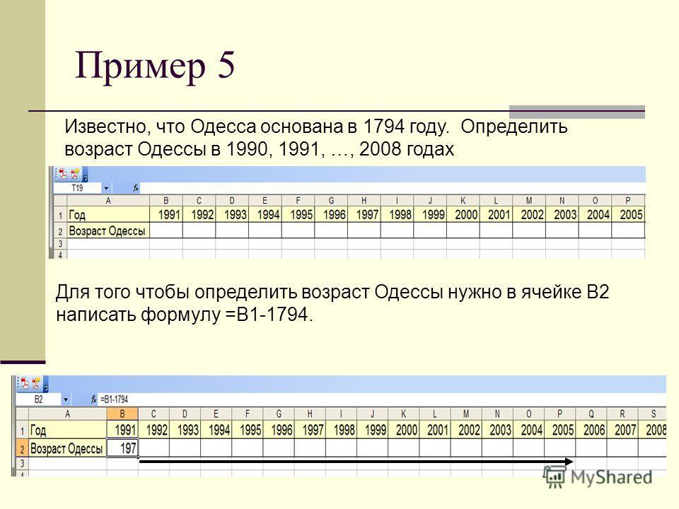 Пример 5 Известно, что Одесса основана в 1794 году. Определить возраст Одессы в 1990, 1991, …, 2008 годах Для того чтобы определить возраст Одессы нужно в ячейке В2 написать формулу =В1-1794.