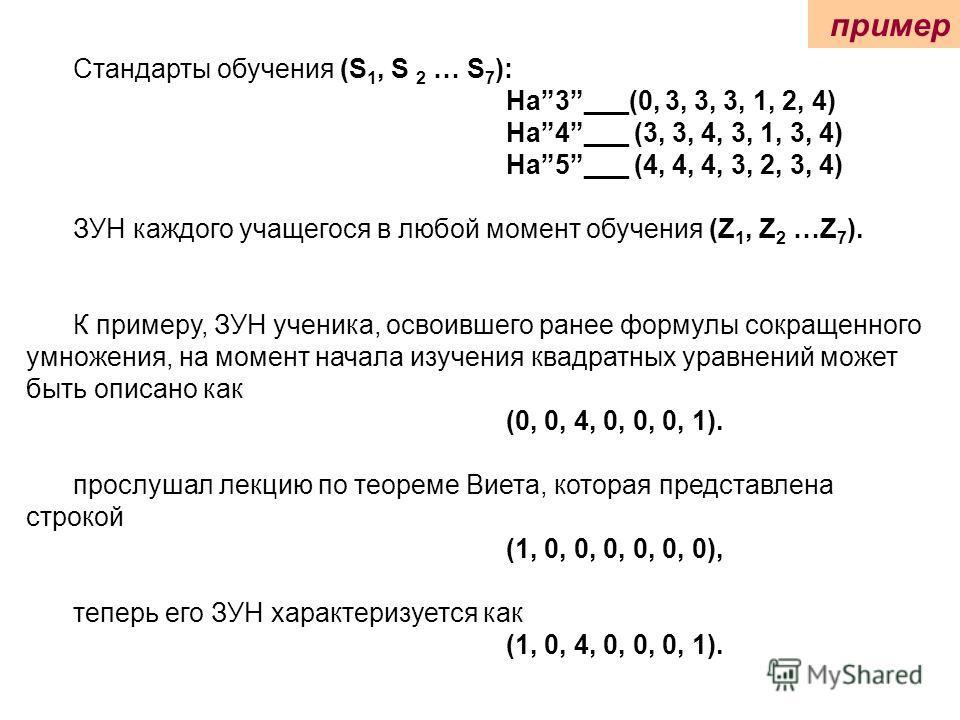 Стандарты обучения (S 1, S 2 … S 7 ): На3___(0, 3, 3, 3, 1, 2, 4) На4___ (3, 3, 4, 3, 1, 3, 4) На5___ (4, 4, 4, 3, 2, 3, 4) ЗУН каждого учащегося в любой момент обучения (Z 1, Z 2 …Z 7 ). К примеру, ЗУН ученика, освоившего ранее формулы сокращенного