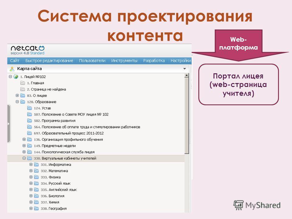 Система проектирования контента Портал лицея (web-страница учителя) Web- платформа