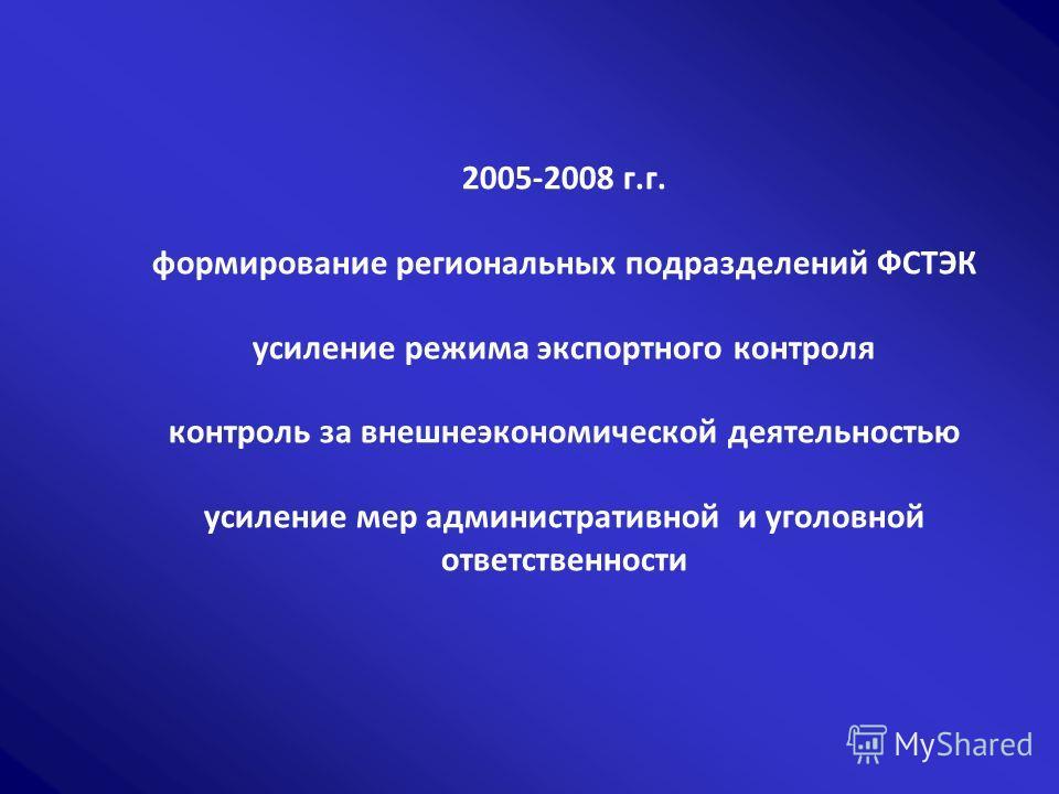 2005-2008 г.г. формирование региональных подразделений ФСТЭК усиление режима экспортного контроля контроль за внешнеэкономической деятельностью усиление мер административной и уголовной ответственности