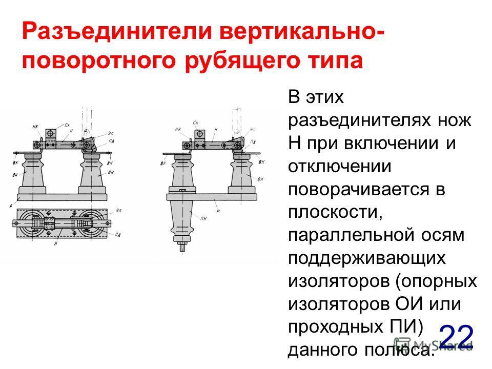 22 В этих разъединителях нож Н при включении и отключении поворачивается в плоскости, параллельной осям поддерживающих изоляторов (опорных изоляторов ОИ или проходных ПИ) данного полюса. Разъединители вертикально- поворотного рубящего типа
