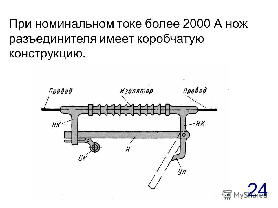 24 При номинальном токе более 2000 А нож разъединителя имеет коробчатую конструкцию.
