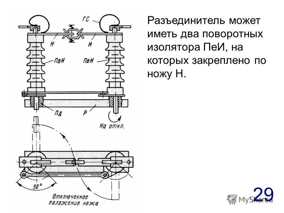 29 Разъединитель может иметь два поворотных изолятора ПеИ, на которых закреплено по ножу Н.