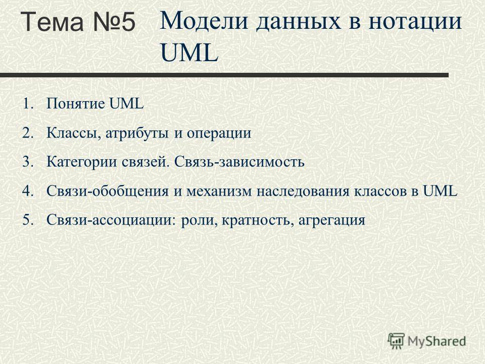Тема 5 Модели данных в нотации UML 1.Понятие UML 2.Классы, атрибуты и операции 3.Категории связей. Связь-зависимость 4.Связи-обобщения и механизм наследования классов в UML 5.Связи-ассоциации: роли, кратность, агрегация