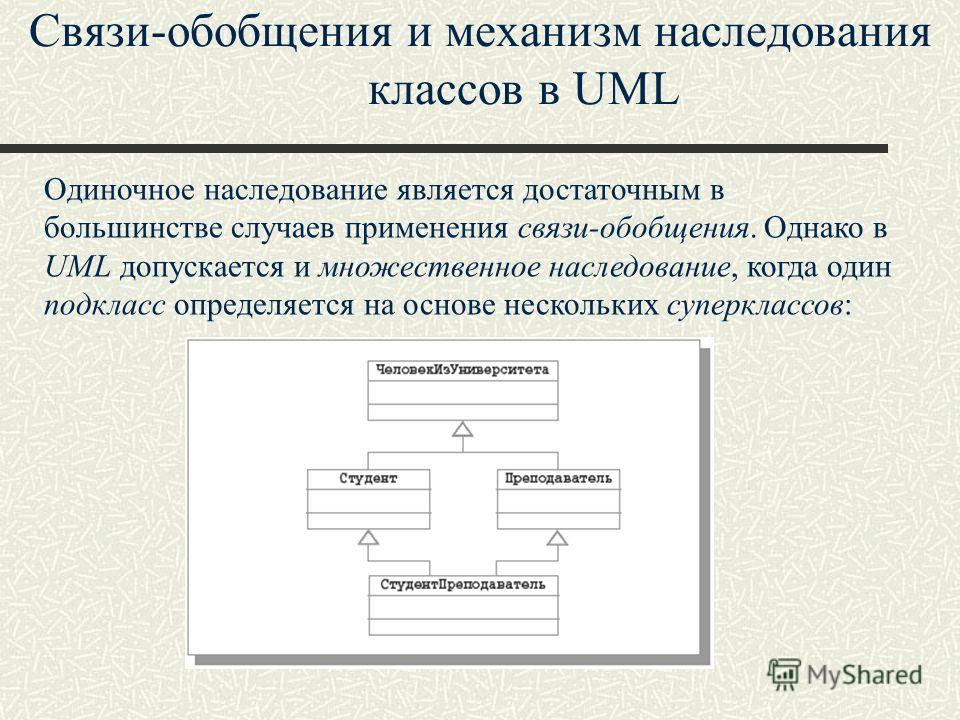 Связи-обобщения и механизм наследования классов в UML Одиночное наследование является достаточным в большинстве случаев применения связи-обобщения. Однако в UML допускается и множественное наследование, когда один подкласс определяется на основе неск