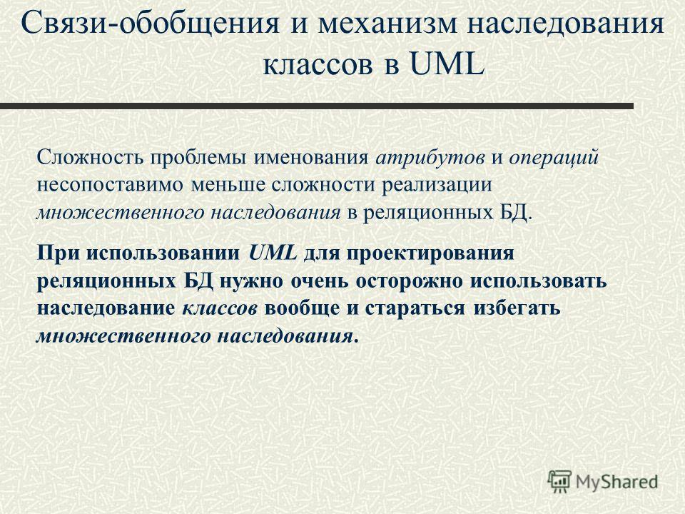 Связи-обобщения и механизм наследования классов в UML Сложность проблемы именования атрибутов и операций несопоставимо меньше сложности реализации множественного наследования в реляционных БД. При использовании UML для проектирования реляционных БД н