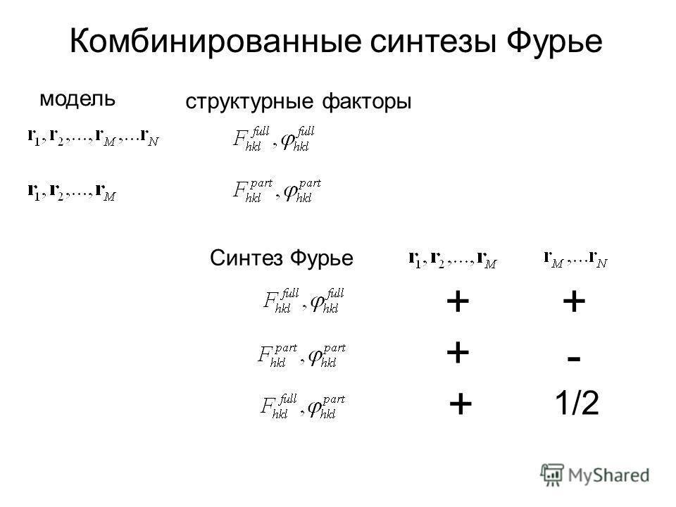 Комбинированные синтезы Фурье модель структурные факторы Синтез Фурье ++ + + - 1/2
