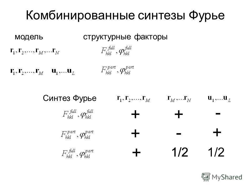 Комбинированные синтезы Фурье модельструктурные факторы Синтез Фурье ++ + + - 1/2 - +
