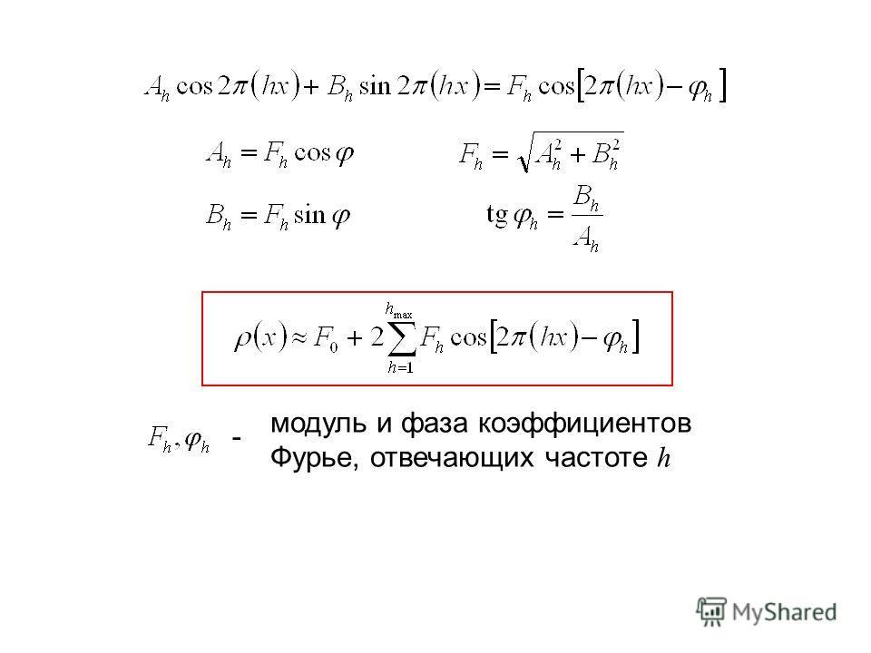 модуль и фаза коэффициентов Фурье, отвечающих частоте h -