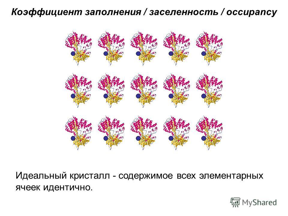 Коэффициент заполнения / заселенность / occupancy Идеальный кристалл - содержимое всех элементарных ячеек идентично.