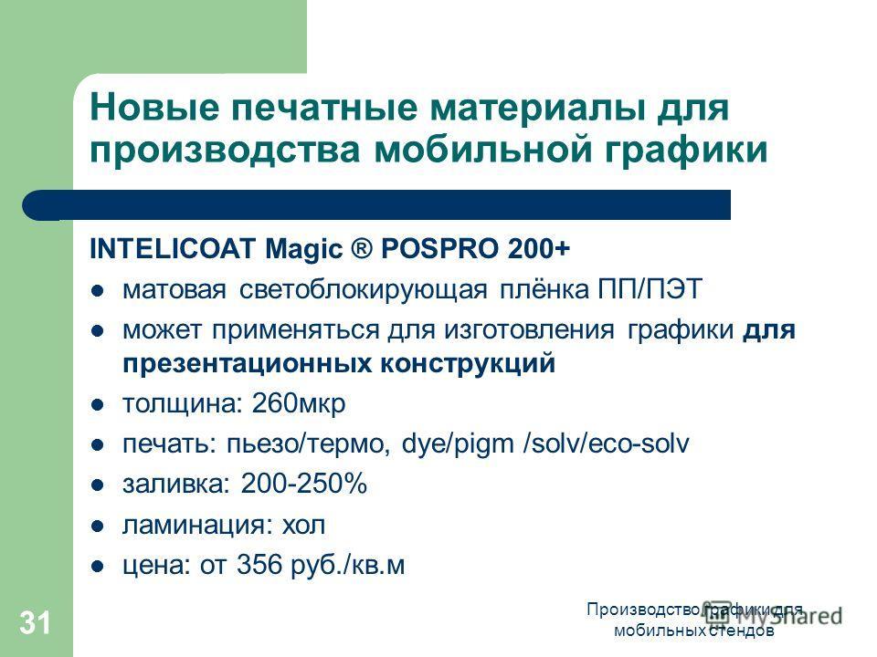 Производство графики для мобильных стендов 31 Новые печатные материалы для производства мобильной графики INTELICOAT Magic ® POSPRO 200+ матовая светоблокирующая плёнка ПП/ПЭТ может применяться для изготовления графики для презентационных конструкций