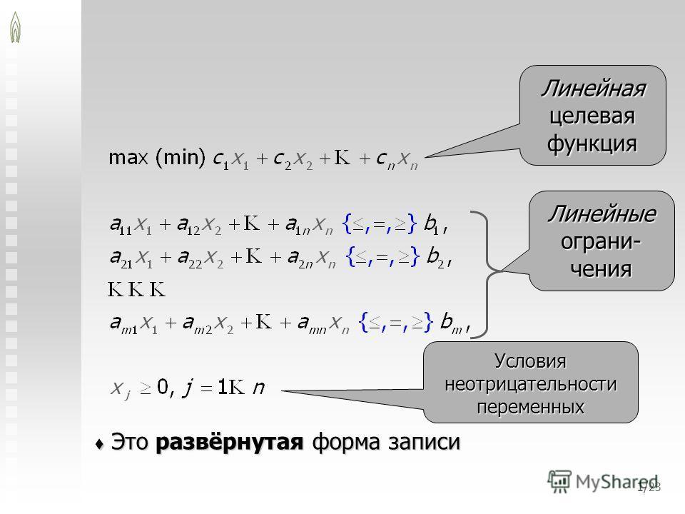 1/ 23 Это развёрнутая форма записи Это развёрнутая форма записи Линейная целевая функция Линейные ограни- чения Условия неотрицательности переменных