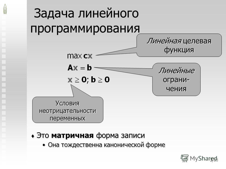 3/ 23 Задача линейного программирования Это матричная форма записи Это матричная форма записи Она тождественна канонической формеОна тождественна канонической форме Линейная целевая функция Линейные ограни- чения Условия неотрицательности переменных
