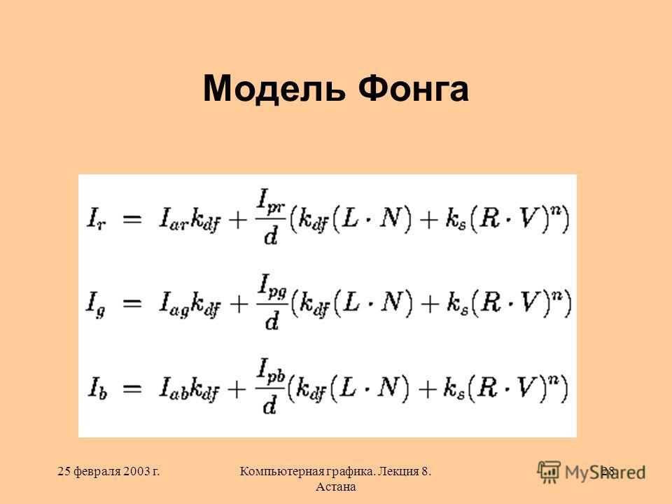 25 февраля 2003 г.Компьютерная графика. Лекция 8. Астана 28 Модель Фонга