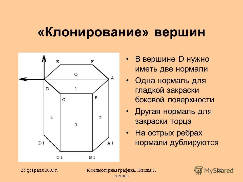 25 февраля 2003 г.Компьютерная графика. Лекция 8. Астана 35 «Клонирование» вершин В вершине D нужно иметь две нормали Одна нормаль для гладкой закраски боковой поверхности Другая нормаль для закраски торца На острых ребрах нормали дублируются