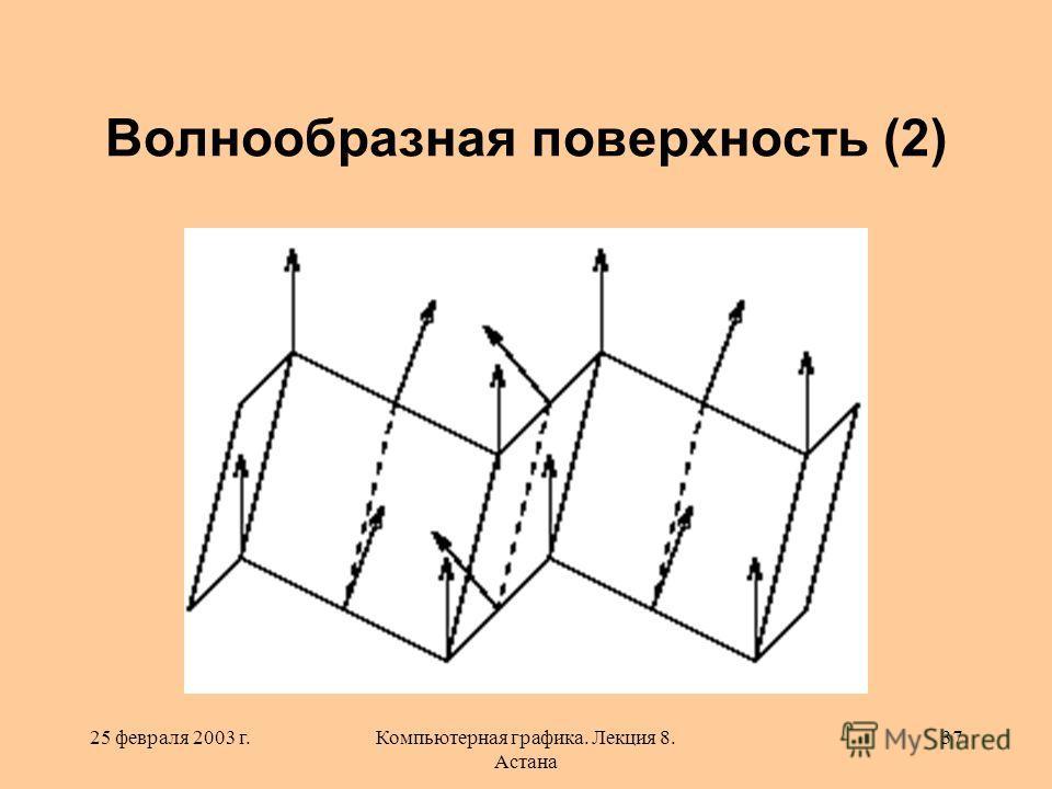 25 февраля 2003 г.Компьютерная графика. Лекция 8. Астана 37 Волнообразная поверхность (2)