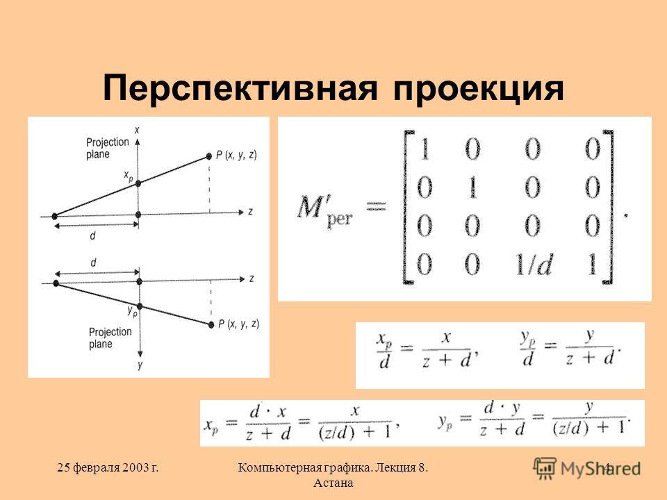 25 февраля 2003 г.Компьютерная графика. Лекция 8. Астана 4 Перспективная проекция