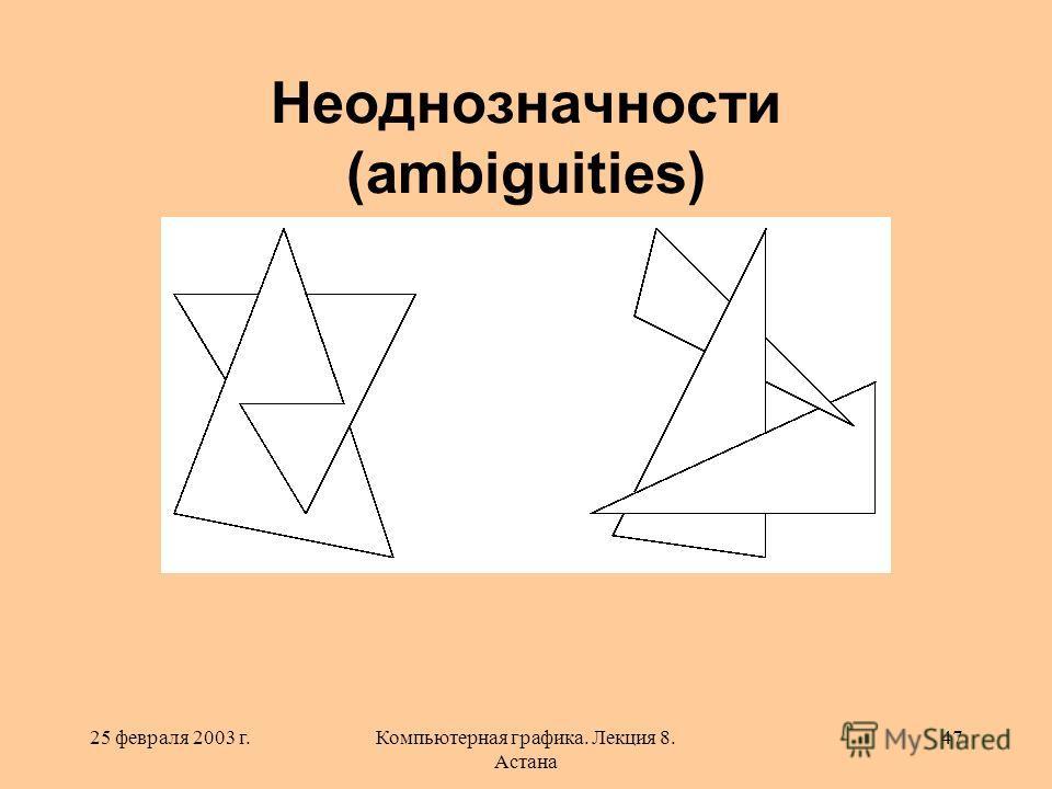 25 февраля 2003 г.Компьютерная графика. Лекция 8. Астана 47 Неоднозначности (ambiguities)