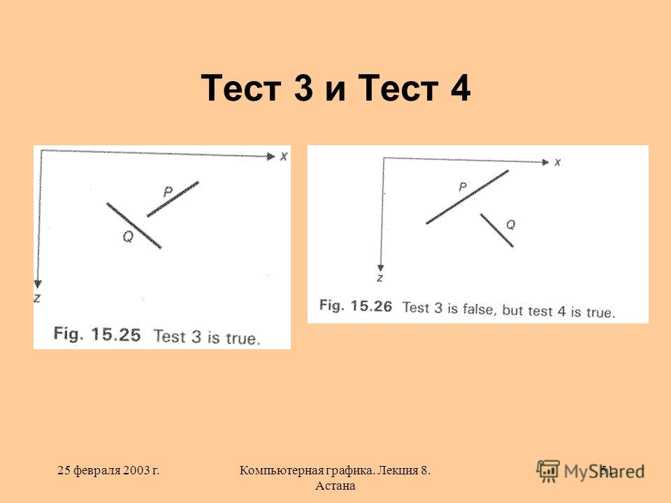 25 февраля 2003 г.Компьютерная графика. Лекция 8. Астана 51 Тест 3 и Тест 4