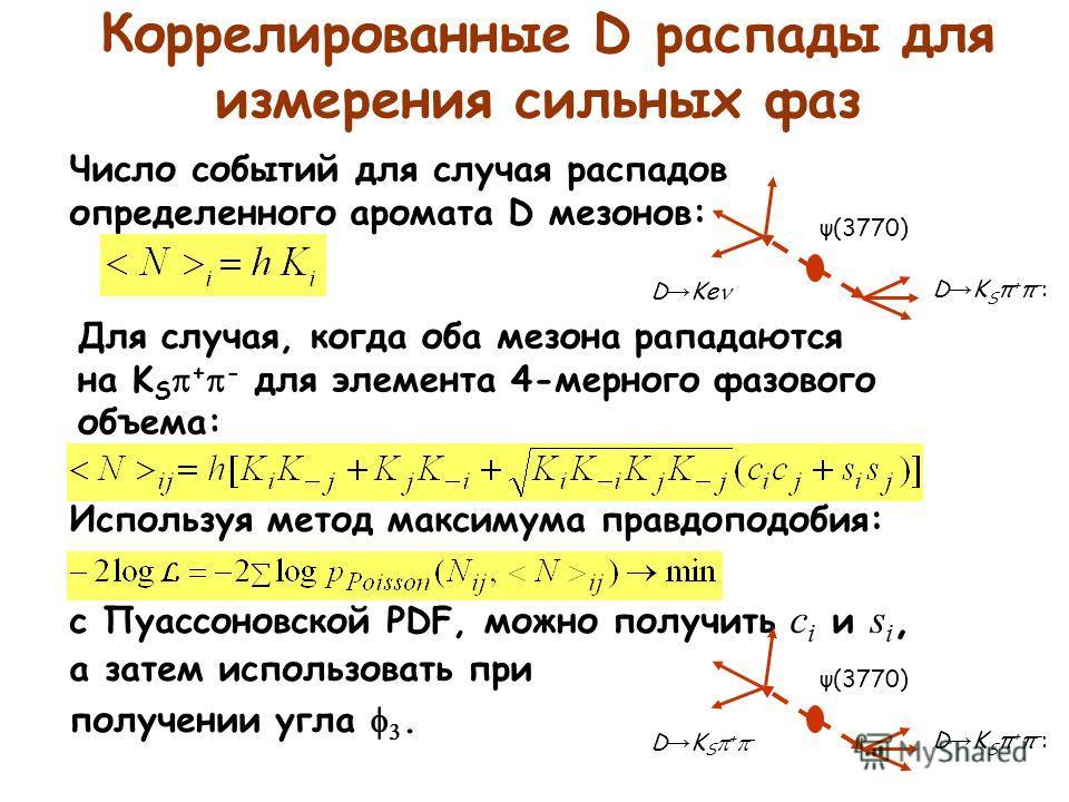 Коррелированные D распады для измерения сильных фаз Для случая, когда оба мезона рападаются на K S + - для элемента 4-мерного фазового объема: Используя метод максимума правдоподобия: с Пуассоновской PDF, можно получить c i и s i, а затем использоват