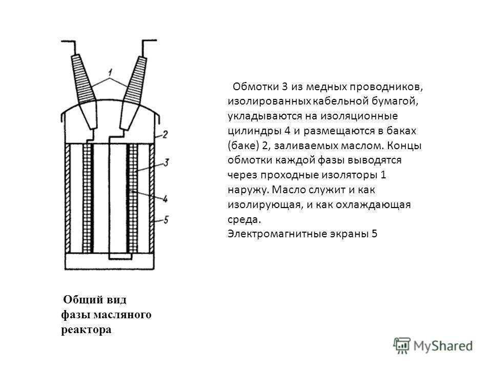 Общий вид фазы масляного реактора Обмотки 3 из медных проводников, изолированных кабельной бумагой, укладываются на изоляционные цилиндры 4 и размещаются в баках (баке) 2, заливаемых маслом. Концы обмотки каждой фазы выводятся через проходные изолято