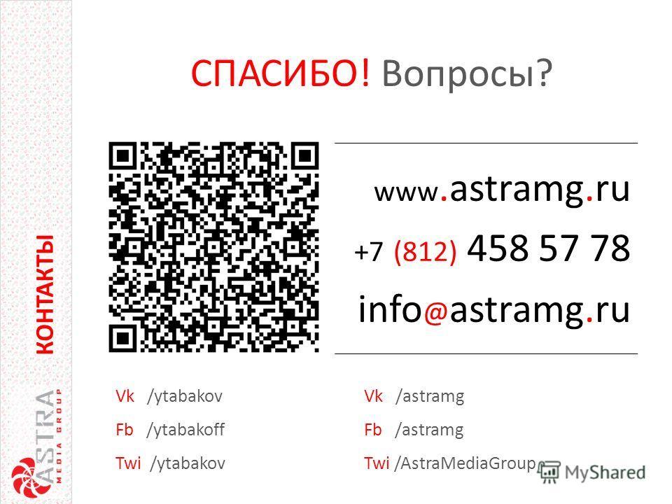 www.astramg.ru +7 (812) 458 57 78 info @ astramg.ru КОНТАКТЫ СПАСИБО! Вопросы? КОНТАКТЫ Vk /astramg Fb /astramg Twi /AstraMediaGroup Vk /ytabakov Fb /ytabakoff Twi /ytabakov