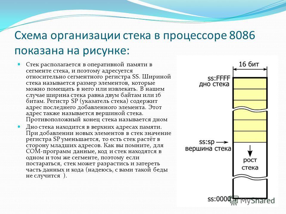 Схема организации стека в процессоре 8086 показана на рисунке: Стек располагается в оперативной памяти в сегменте стека, и поэтому адресуется относительно сегментного регистра SS. Шириной стека называется размер элементов, которые можно помещать в не