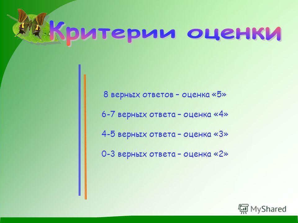 8 верных ответов – оценка «5» 6-7 верных ответа – оценка «4» 4-5 верных ответа – оценка «3» 0-3 верных ответа – оценка «2»