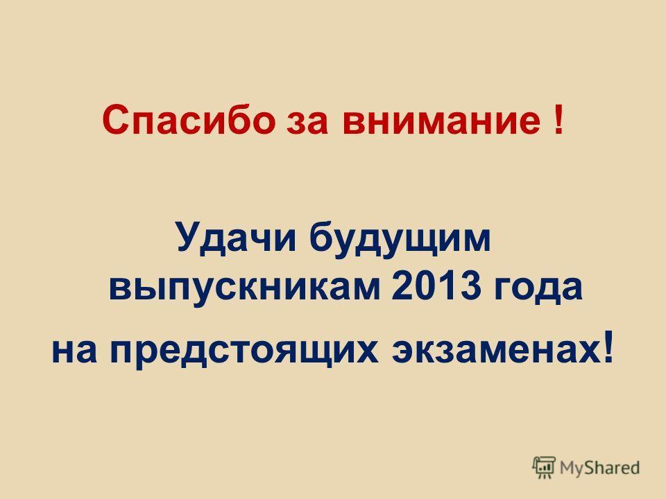 Спасибо за внимание ! Удачи будущим выпускникам 2013 года на предстоящих экзаменах !