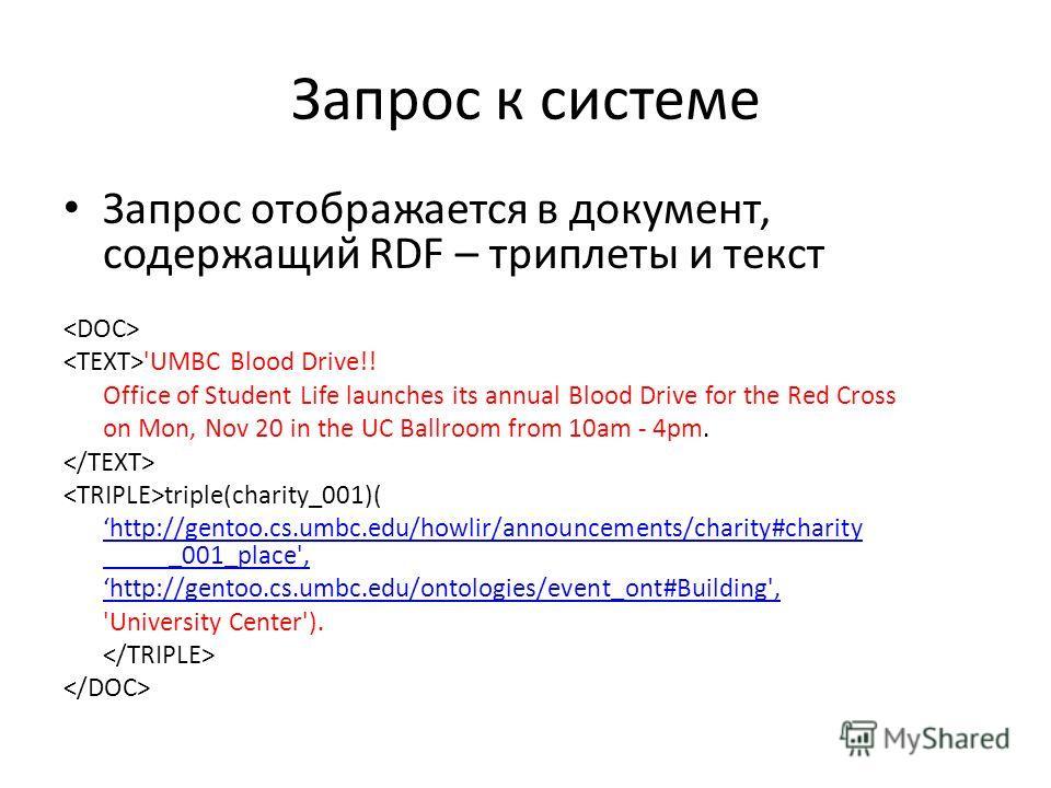 Запрос к системе Запрос отображается в документ, содержащий RDF – триплеты и текст 'UMBC Blood Drive!! Office of Student Life launches its annual Blood Drive for the Red Cross on Mon, Nov 20 in the UC Ballroom from 10am - 4pm. triple(charity_001)( ht