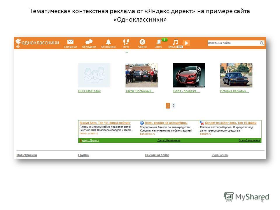 Тематическая контекстная реклама от «Яндекс.директ» на примере сайта «Одноклассники» 9