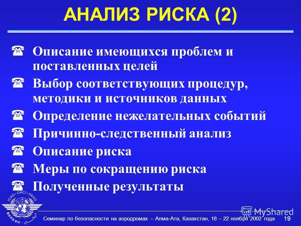 Семинар по безопасности на аэродромах – Алма-Ата, Казахстан, 18 – 22 ноября 2002 года 19 АНАЛИЗ РИСКА (2) (Описание имеющихся проблем и поставленных целей (Выбор соответствующих процедур, методики и источников данных (Определение нежелательных событи