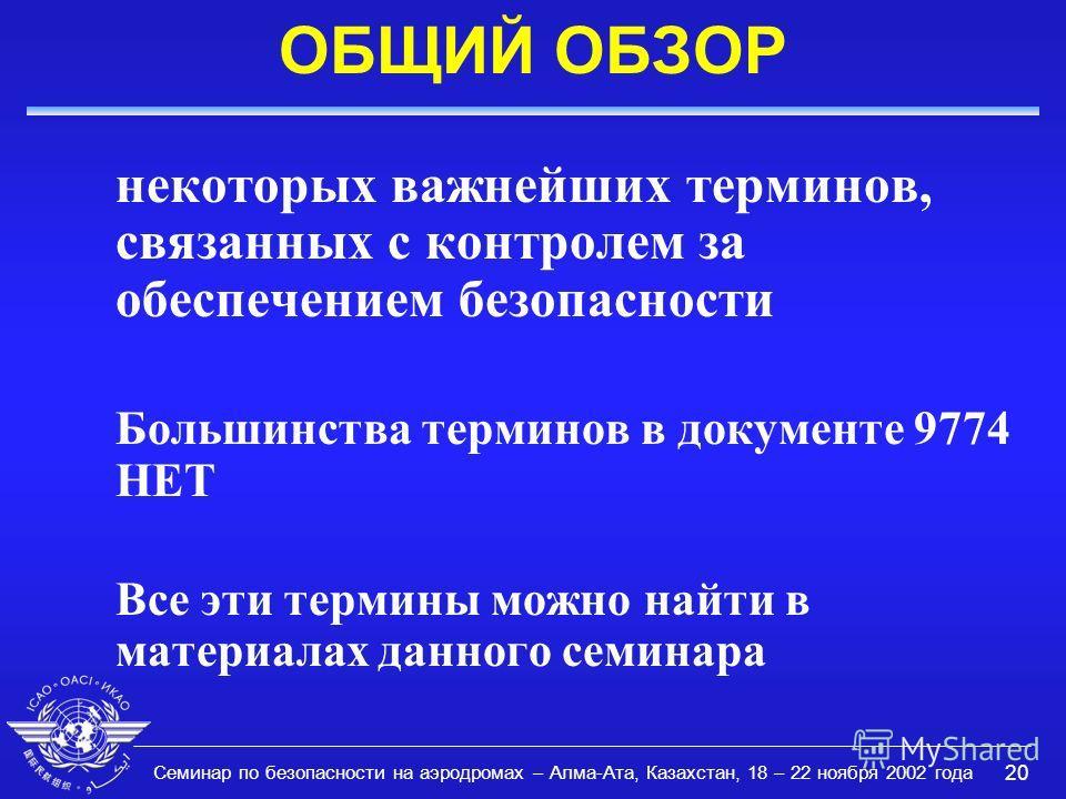 Семинар по безопасности на аэродромах – Алма-Ата, Казахстан, 18 – 22 ноября 2002 года 20 ОБЩИЙ ОБЗОР некоторых важнейших терминов, связанных с контролем за обеспечением безопасности Большинства терминов в документе 9774 НЕТ Все эти термины можно найт