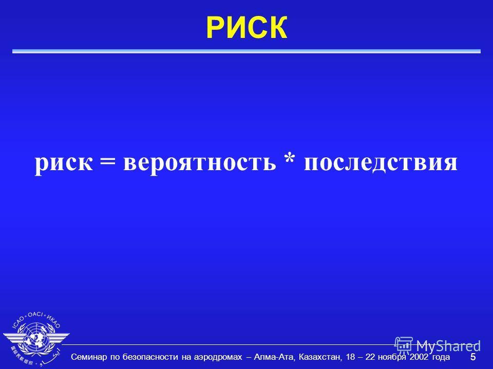 Семинар по безопасности на аэродромах – Алма-Ата, Казахстан, 18 – 22 ноября 2002 года 5 РИСК риск = вероятность * последствия
